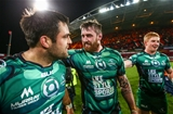 Forwards Ronan Loughney and Aly Muldowney celebrate after Connacht's famous victory at Thomond Park Credit: ©INPHO/James Crombie