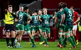 Scrum half Kieran Marmion shows his delight at the final whistle as Connacht end their 29-year wait for a competitive win at Thomond Park Credit: ©INPHO/James Crombie