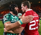 Connacht captain John Muldoon and Munster replacement Denis Hurley embrace after another fiercely-contested interpro derby Credit: ©INPHO/James Crombie