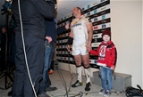 Ulster captain Rory Best is interviewed by BBC Northern Ireland after the game alongside his son Ben Credit: ©INPHO/Dan Sheridan