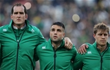 Three of the starters retained from the first Test - Devin Toner, Conor Murray and Andrew Trimble - are pictured during the anthems Credit: ©INPHO/Billy Stickland