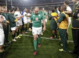 A dejected Rory Best and the Ireland team are applauded by the victorious Springboks Credit: ©INPHO/Billy Stickland