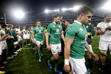 Iain Henderson is pictured in between debutants Quinn Roux and Tiernan O'Halloran in the aftermath of the second Test Credit: ©INPHO/Billy Stickland