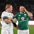 Captains Adriaan Strauss and Rory Best have a light-hearted exchange before being interviewed by the host broadcasters Credit: ©SPORTSFILE/Brendan Moran