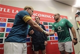 New Zealand referee Glen Jackson with Springboks captain Adriaan Strauss and Ireland skipper Rory Best at the coin toss Credit: ©INPHO/Billy Stickland