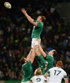 Flanker Jordi Murphy secures lineout possession for Joe Schmidt's men during the third Test Credit: ©SPORTSFILE/Brendan Moran