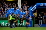 Loosehead Jack McGrath leads the home team out to mark his 100th Leinster cap Credit:  ©INPHO/Gary Carr