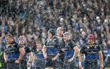 Leinster forwards Jack McGrath, Sean Cronin, Ian Nagle, Devin Toner, Jamie Heaslip and Josh van der Flier during a rain shower Credit:  ©INPHO/Dan Sheridan