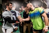 Connacht captain John Muldoon shakes hands with his Toulouse counterpart Florian Fritz, alongside match referee Luke Pearce Credit: ©INPHO/James Crombie