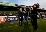 James Heaslip interviews injured Connacht players Denis Buckley and Matt Healy on the pitch Credit: ©INPHO/James Crombie