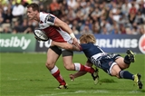 Ulster winger Craig Gilroy tries to get away from Bordeaux-Begles' Blair Connor during the first half at Stade Chaban-Delmas Credit: ©INPHO/Presseye/Nicolas Tucat