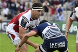 Ulster's replacement hooker Rob Herring braces for contact as he is tackled by Bordeaux-Begles' Romain Lonca Credit: ©INPHO/Presseye/Nicolas Tucat