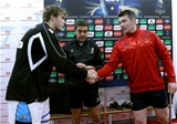 The captains, Glasgow's Jonny Gray and Peter O'Mahony of Munster, with match referee Jérôme Garcès Credit: ©INPHO/Ryan Byrne