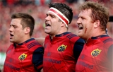 Munster forwards CJ Stander, Billy Holland and Stephen Archer sing 'Stand Up and Fight' Credit: ©INPHO/Ryan Byrne