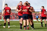 Cork youngster Rory Scannell received the congratulations of his team-mates after killing of Glasgow's challenge Credit: ©INPHO/Dan Sheridan