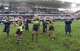 The Leinster forwards, including Michael Bent and Devin Toner, thank the away fans for their support throughout the game Credit: ©INPHO/Billy Stickland