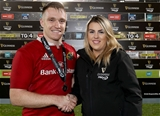 Young centre Rory Scannell receives his GUINNESS PRO12 man-of-the-match award from Niamh Everard Credit: ©INPHO/Dan Sheridan