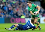 Leinster centre Noel Reid goes low to tackle Connacht's Craig Ronaldson who had to come off in the 18th minute with concussion Credit: ©INPHO/James Crombie