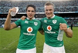 Joey Carbery and Josh van der Flier celebrate the win after playing together for Ireland for the first time Credit: ©INPHO/Dan Sheridan