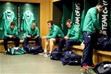 Paddy Jackson, Keith Earls, Garry Ringrose, Craig Gilroy and Luke McGrath listen to music and read the match programme following the squad's arrival Credit: ©INPHO/Billy Stickland