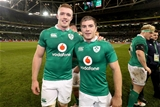 Two of Ireland's eight debutants, Leinster's Dan Leavy and Luke McGrath, celebrate after the 52-21 win Credit: ©INPHO/Billy Stickland
