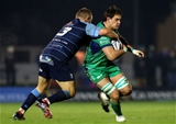Cardiff's Scott Andrews goes high to try and halt the progress of Connacht's Ireland-capped lock Quinn Roux Credit: ©INPHO/James Crombie