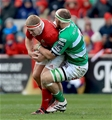 Munster prop John Ryan, who made his Ireland debut against Canada recently, is tackled by Treviso's Michael van Vuuren Credit: ©INPHO/Donall Farmer