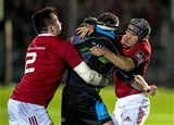 Munster's Niall Scannell and Duncan Williams combine to wrap up Glasgow flanker Chris Fusaro Credit: ©INPHO/Craig Watson