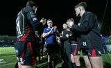 Flanker Dan Leavy and the rest of the Leinster squad are clapped off the pitch by the Dragons players Credit: ©INPHO/Donall Farmer