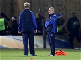Leinster head coach Leo Cullen and senior coach Stuart Lancaster are pictured together during the warm-up Credit: ©INPHO/Billy Stickland
