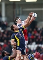 Robbie Diack, who featured in Ulster's second row, battles for a lineout ball with Clermont's Alexandre Lapandry Credit: ©INPHO/Presseye/Darren Kidd