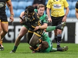 Tricky Wasps winger Christian Wade is hauled down by Connacht's Kieran Marmion and Finlay Bealham Credit: ©INPHO/Billy Stickland